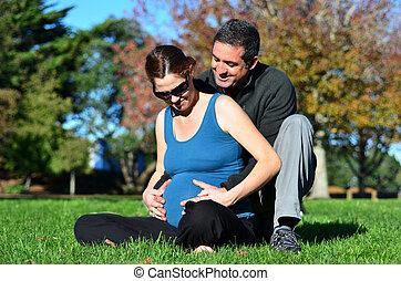 grossesse, femme, -, famille, pregnant