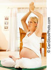 grossesse, femme, yoga, pregnant