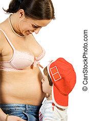 grossesse, heureux, mère, fils