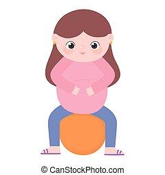 grossesse, pregnant, séance, mignon, maternité, dessin animé...
