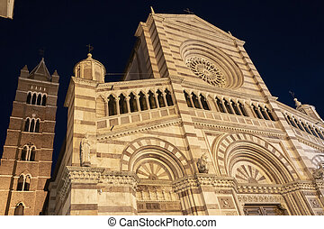 Grosseto, Tuscany, Italy: the historic cathedral by night