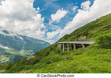 Grossglockner mountain road at summer time in Austria