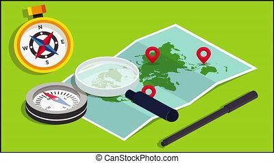 grossir, compas, trouver, planisphère, verre