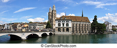 Grossmuenster church and City Hall in Zurich downtown
