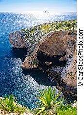 grot, blauwe , boog, filfla, middellandse zee, eiland, zee, malta