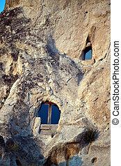grot, woning, in, goreme, cappadocia, turkije