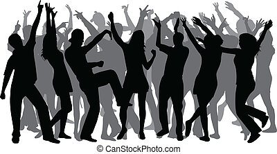 grote groep, disco-dancing, mensen