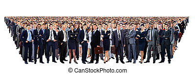 grote groep van mensen, volledige lengte, vrijstaand, op wit