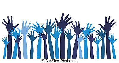 grote groep, van, vrolijke , hands.