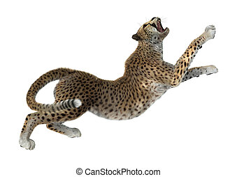 grote kat, vertolking, cheetah, witte , 3d
