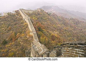 grote muur, gedurende, herfst, seizoen