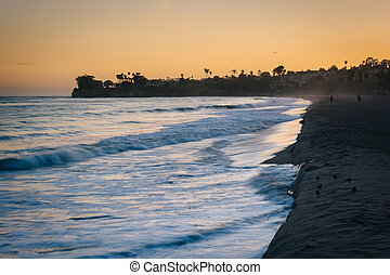 grote oceaan, barbara, kerstman, golven, californ, ondergaande zon