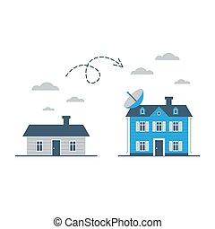 groter, en, kleiner, huisen, huis verbetering, verschil,...