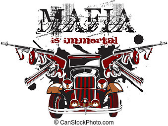 "Grotesque vectorial vignette on theme of mafia with inscription ""Mafia is immortal"". No gradients and blends."
