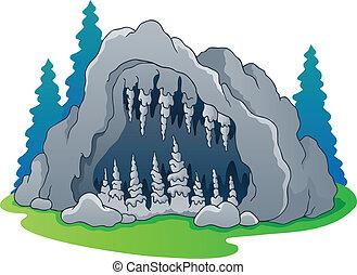 grotta, tema, avbild, 1