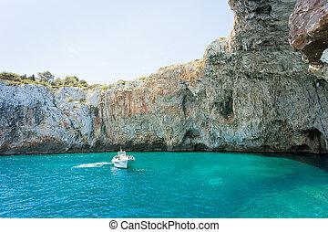 grotte, motorboot, -, berühmt, grotta, zinzulusa, apulia