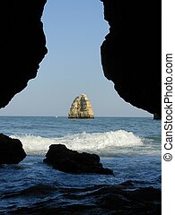 Rocky zone called Tip the very interesting Mercy for its grottos and point of view on the very interesting sea. In Lagos, Algarve. Portugal