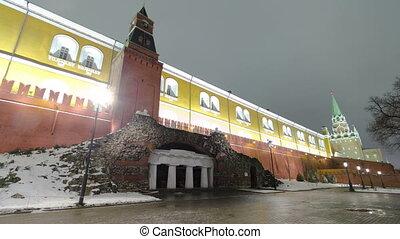 Grotto Ruins in Alexander Garden winter night timelapse hyperlapse, Moscow, Russia