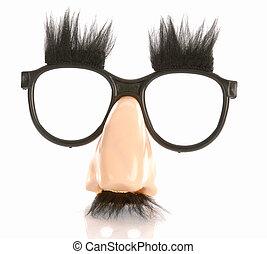 groucho, contrassegni, occhiali