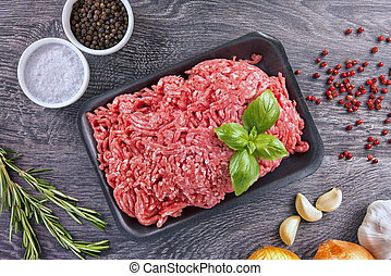 Ground beef - Lean ground beef in black styrofoam meal box, ...