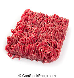 Photo of fresh ground beef on white background.