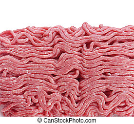 Ground Beef ,Close Up isolated on white background