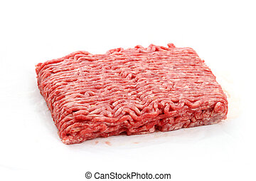 Raw pile of ground beef on white background