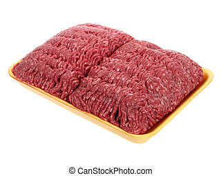 Ground Beef - Large package of raw ground beef in a yellow...