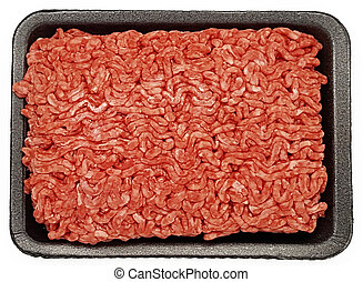 Ground Beef Top View in Styrofoam Container