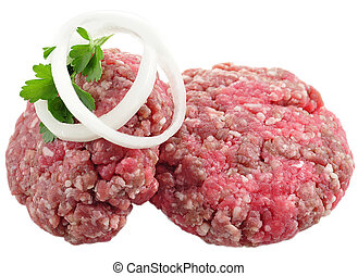 ground beef with onion on white background