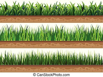 ground., bello, set, erba, naturale, usato, vettore, illustrazioni
