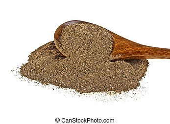 Ground black pepper in wooden spoon on a white background