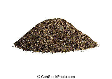 Ground black pepper isolated on a white background