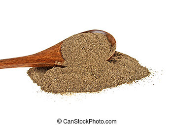 Ground black pepper isolated on white background. Pepper in wooden spoon.