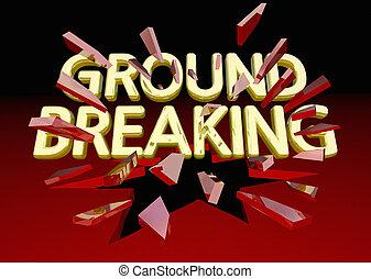 Ground Breaking Glass Shattering Words Big News 3d Illustration