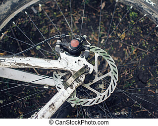 ground., bugie, cattivo, bicicletta, sporco, ruote, weather., primo piano, viaggio, dettagli