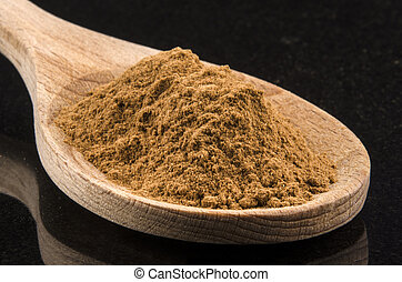 ground cinnamon on a wooden spoon