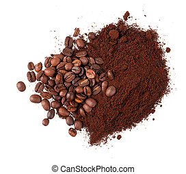 ground coffee and grain isolated on white background