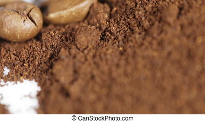 Ground coffee grains