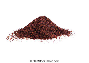 Ground coffee on a white background