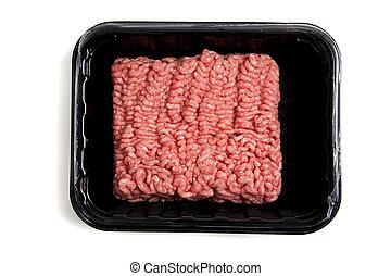 Ground hamburger meat on a white background