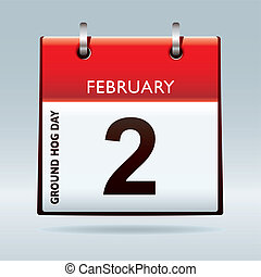 Red calendar top icon with ground hog day on february 2nd