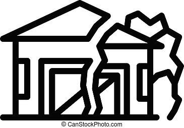 Ground house erosion icon, outline style - Ground house ...