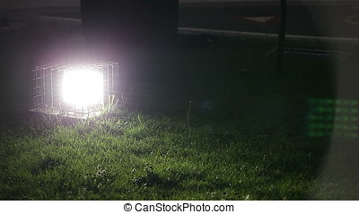 Ground Lamp Lighting Turfed Area at Night - Ground lamp...