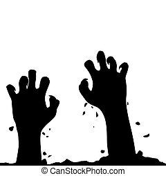 ground., main, zombi, vecteur, levée, layer., mains, autre, dehors