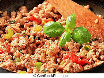 Ground meat stir fry - Detail of ground meat stir fry in a...