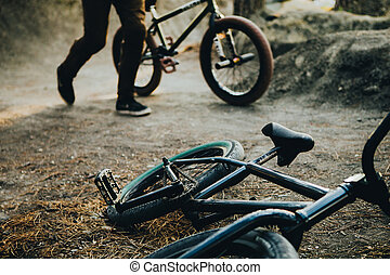 ground., perron, dert, bicycle., forest., uitrusting, springt, pijl, sporten, extreem