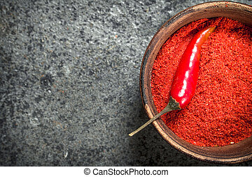 Ground red pepper in a bowl.