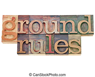 ground rules - isolated phrase in vintage letterpress wood...