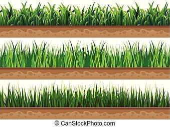 ground., schöne , satz, gras, natürlich, gebraucht, vektor, illustrationen